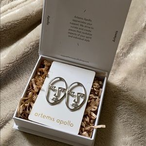 Silver Face Earrings with Crystal Eye